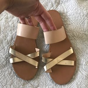 Nude & Gold Slip on Sandals